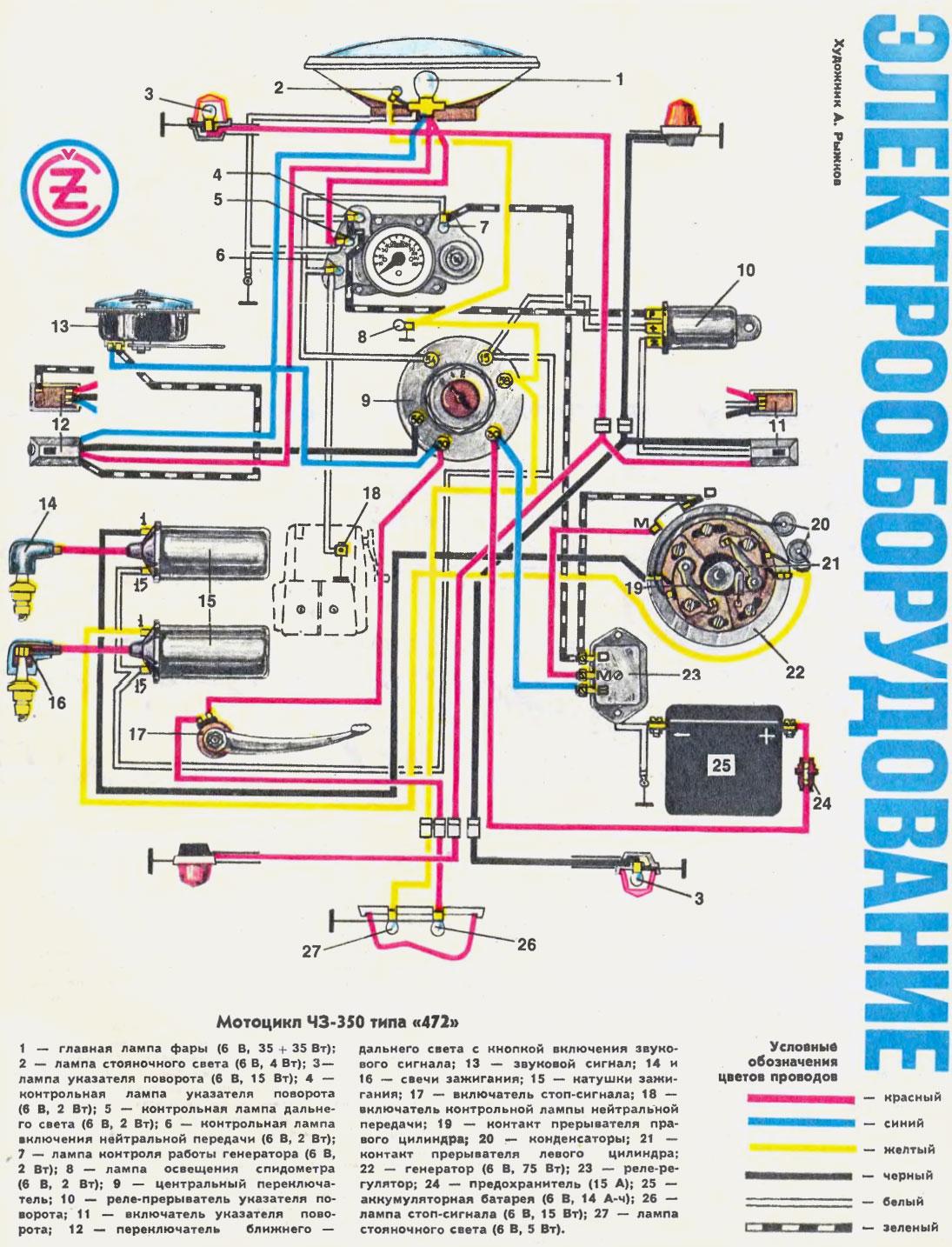 схема электропроводки ява 350 634
